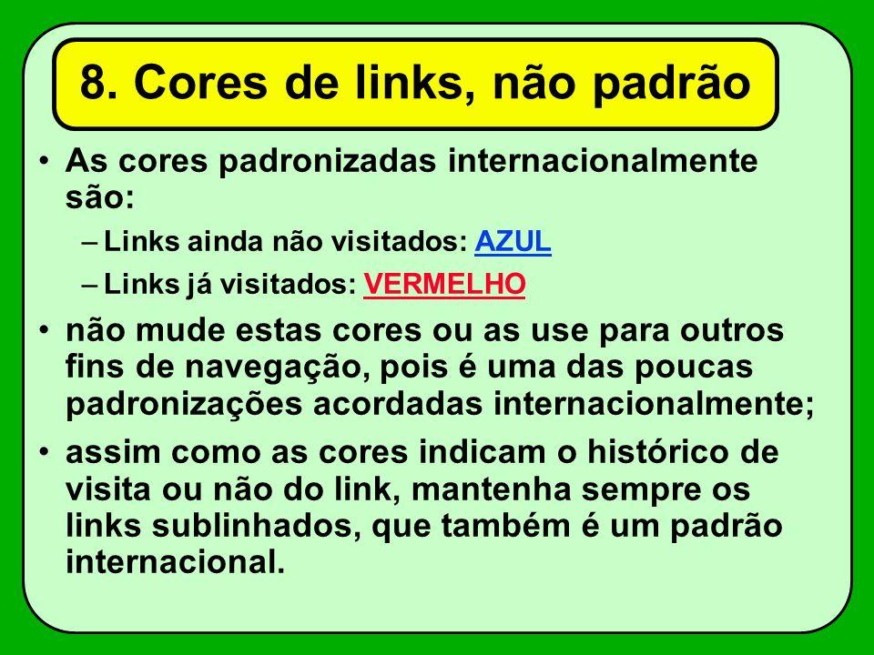 8. Cores de links, não padrão
