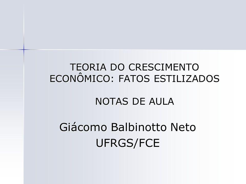 TEORIA DO CRESCIMENTO ECONÔMICO: FATOS ESTILIZADOS NOTAS DE AULA