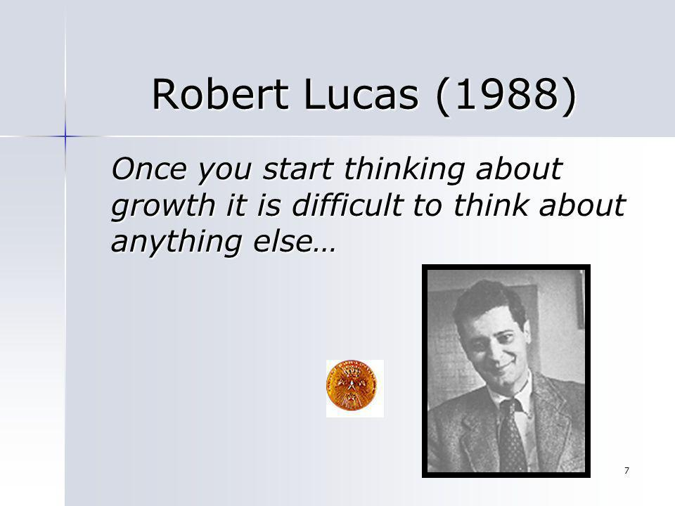 Robert Lucas (1988) Once you start thinking about growth it is difficult to think about anything else…