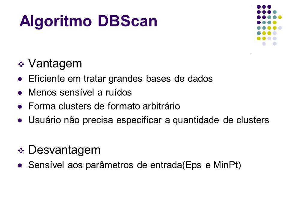 Algoritmo DBScan Vantagem Desvantagem