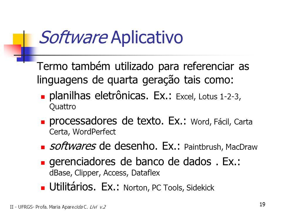 Software Aplicativo Termo também utilizado para referenciar as linguagens de quarta geração tais como: