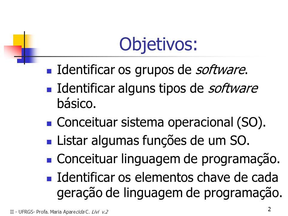 Objetivos: Identificar os grupos de software.