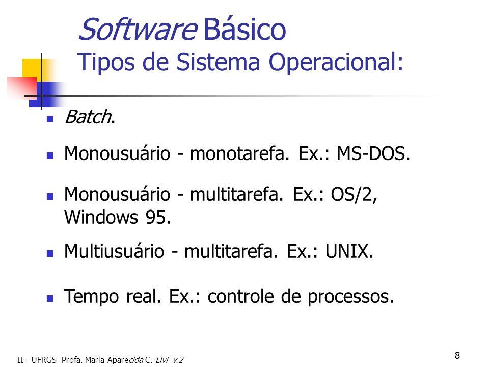 Software Básico Tipos de Sistema Operacional: