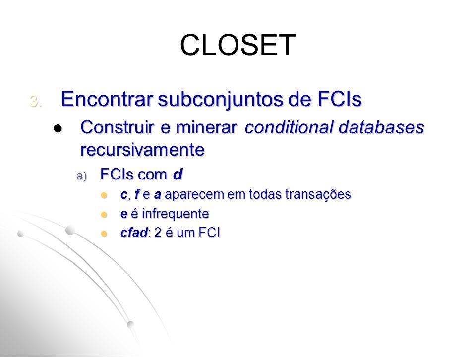 CLOSET Encontrar subconjuntos de FCIs