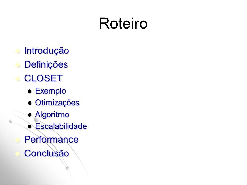 Roteiro Introdução Definições CLOSET Performance Conclusão Exemplo