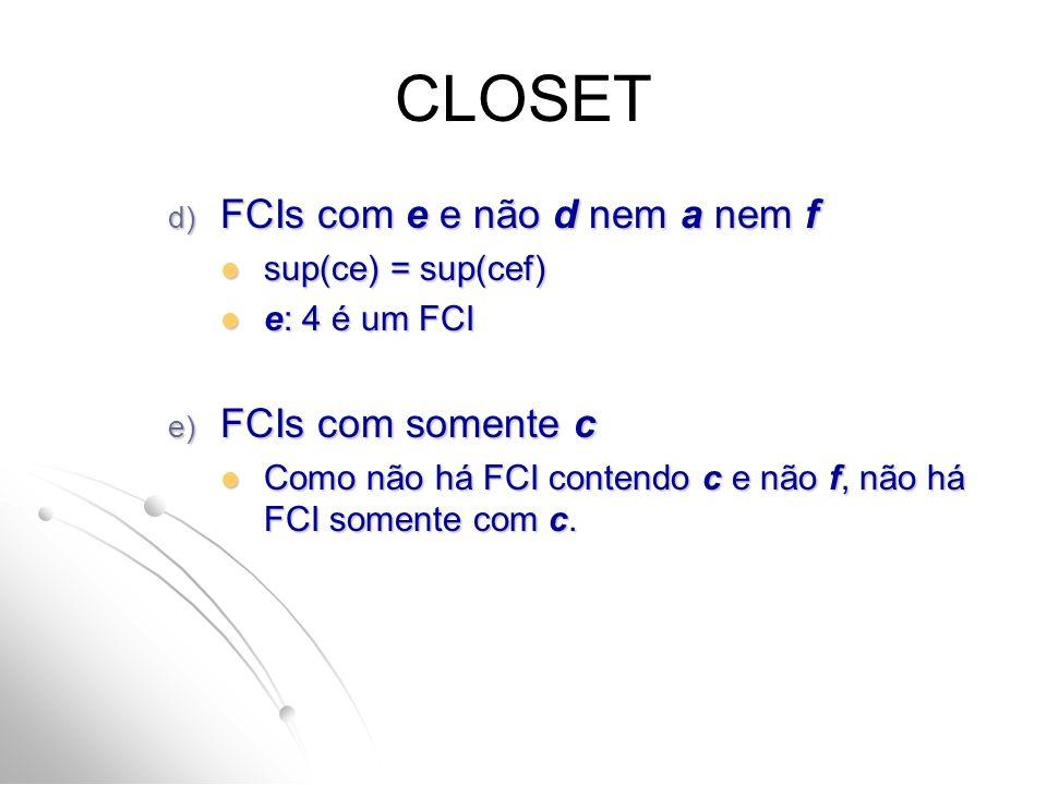 CLOSET FCIs com e e não d nem a nem f FCIs com somente c