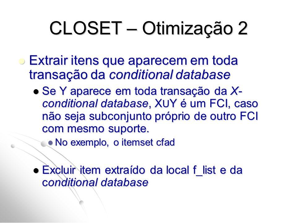 CLOSET – Otimização 2 Extrair itens que aparecem em toda transação da conditional database.