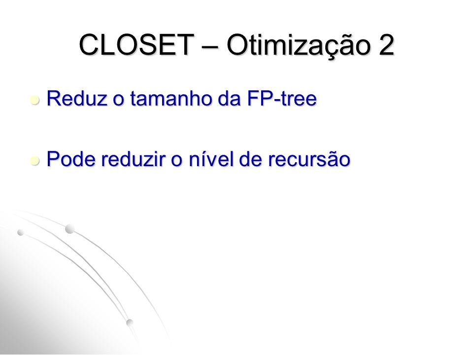 CLOSET – Otimização 2 Reduz o tamanho da FP-tree
