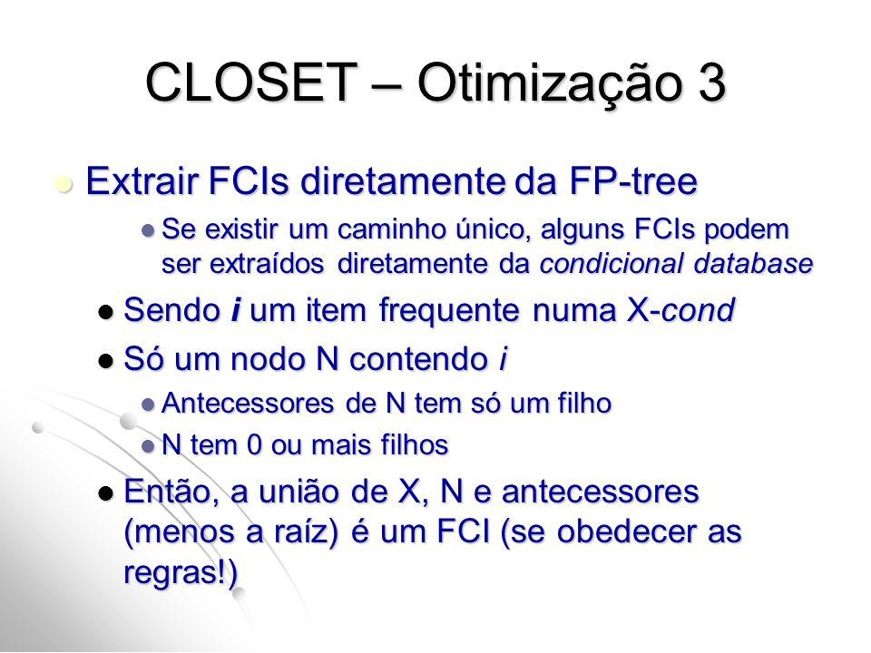 CLOSET – Otimização 3 Extrair FCIs diretamente da FP-tree