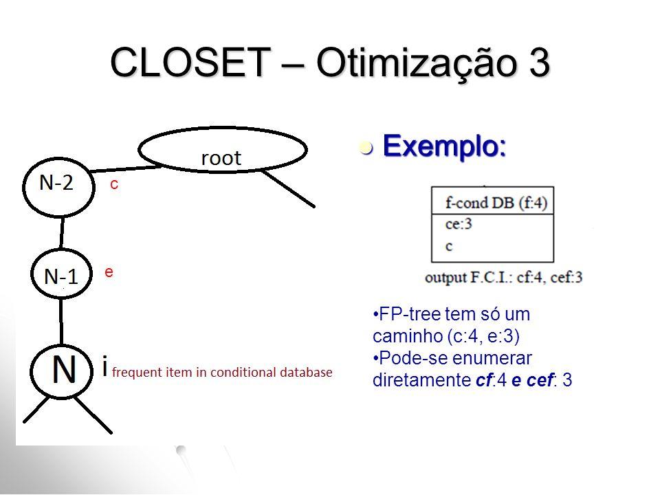 CLOSET – Otimização 3 Exemplo: FP-tree tem só um caminho (c:4, e:3)