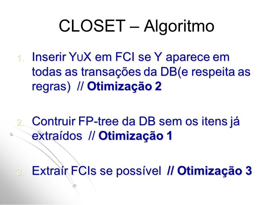 CLOSET – Algoritmo Inserir YUX em FCI se Y aparece em todas as transações da DB(e respeita as regras) // Otimização 2.