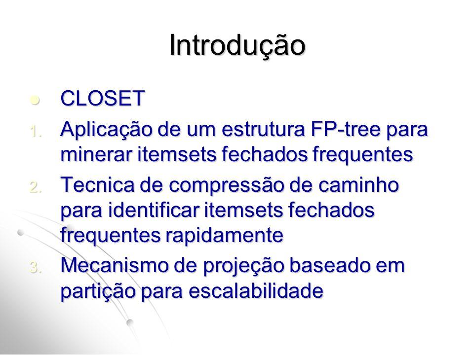 Introdução CLOSET. Aplicação de um estrutura FP-tree para minerar itemsets fechados frequentes.