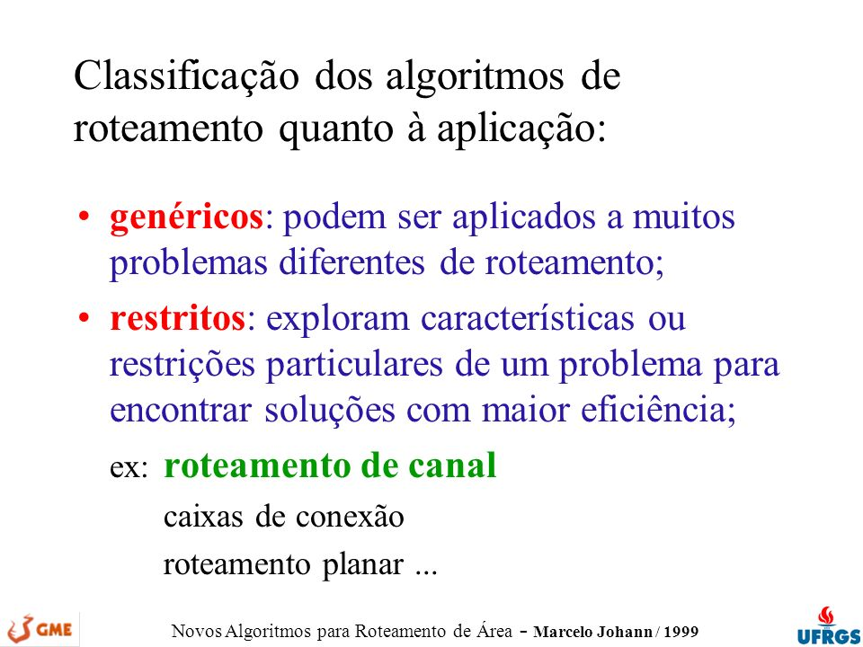 Classificação dos algoritmos de roteamento quanto à aplicação: