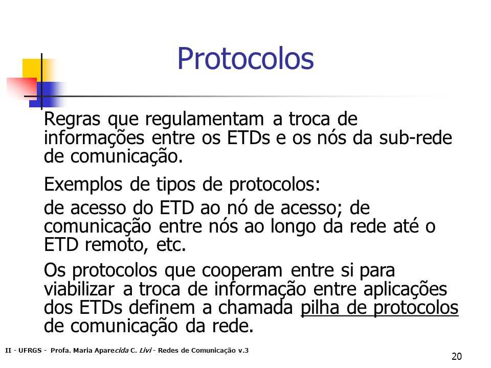 Protocolos Regras que regulamentam a troca de informações entre os ETDs e os nós da sub-rede de comunicação.