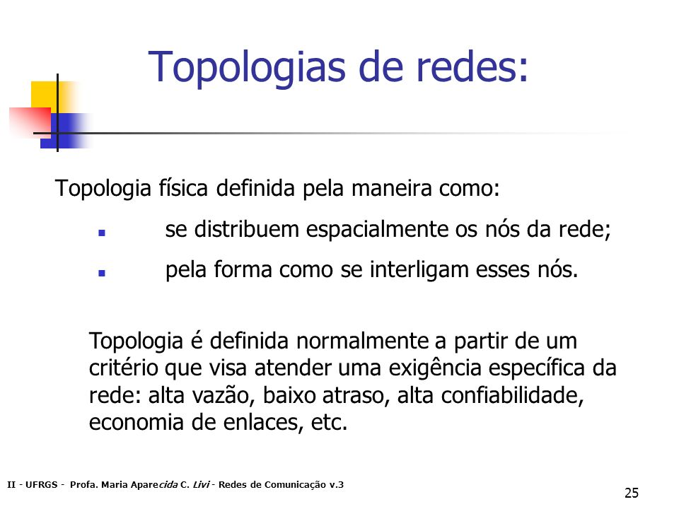 Topologias de redes: Topologia física definida pela maneira como: