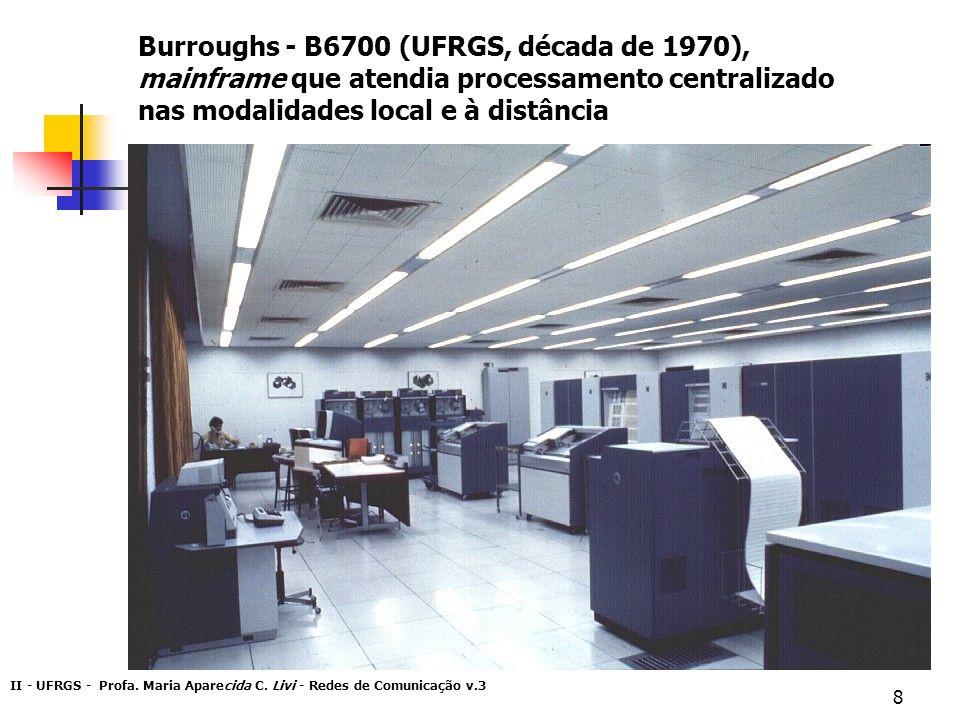 Burroughs - B6700 (UFRGS, década de 1970), mainframe que atendia processamento centralizado nas modalidades local e à distância