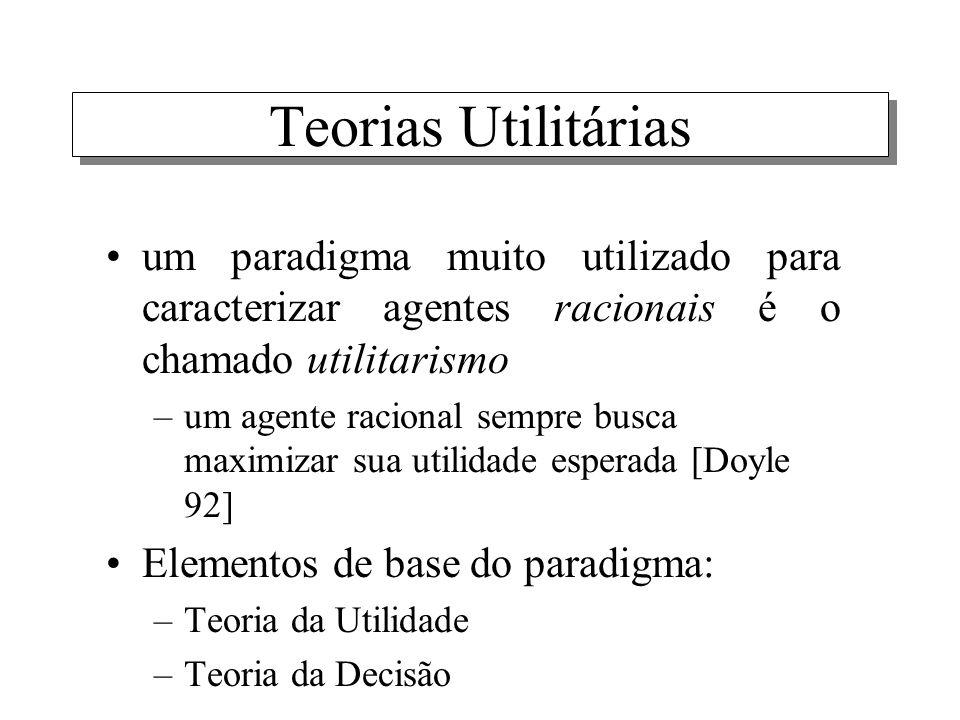Teorias Utilitárias um paradigma muito utilizado para caracterizar agentes racionais é o chamado utilitarismo.