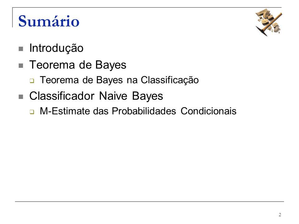 Sumário Introdução Teorema de Bayes Classificador Naive Bayes