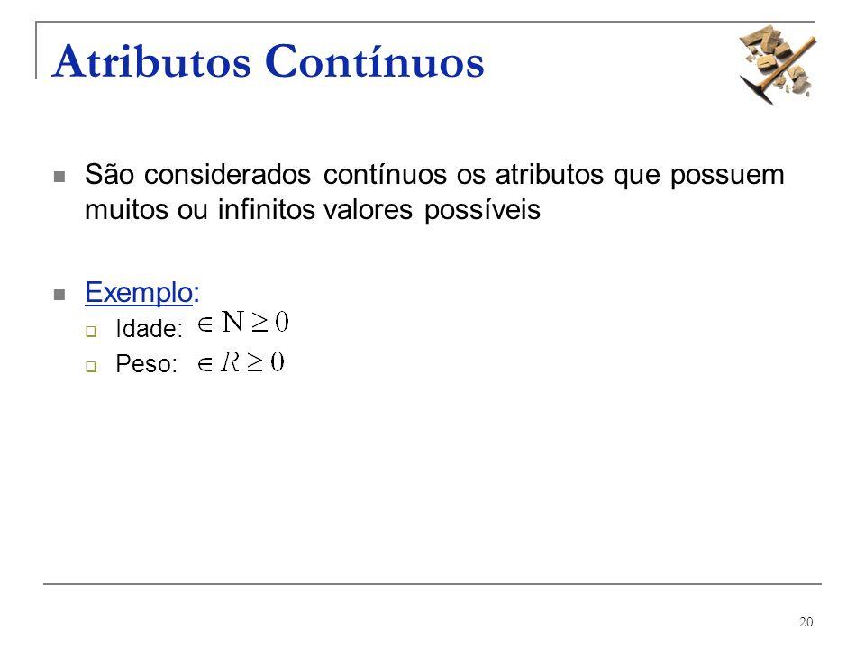 Atributos Contínuos São considerados contínuos os atributos que possuem muitos ou infinitos valores possíveis.