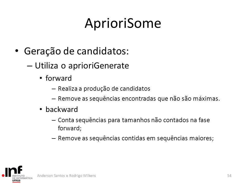 AprioriSome Geração de candidatos: Utiliza o aprioriGenerate forward
