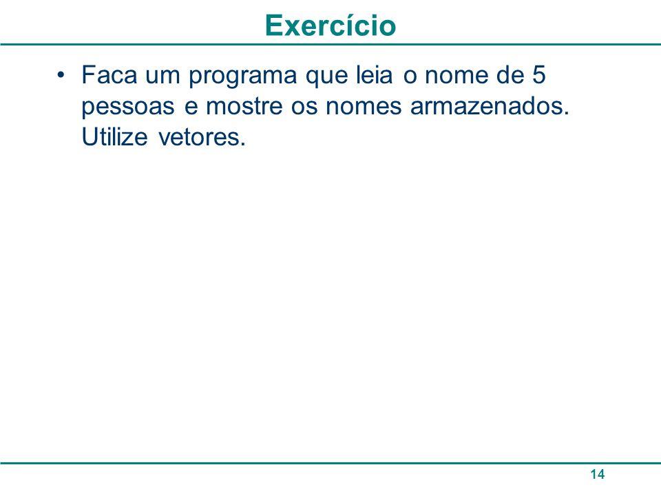ExercícioFaca um programa que leia o nome de 5 pessoas e mostre os nomes armazenados.
