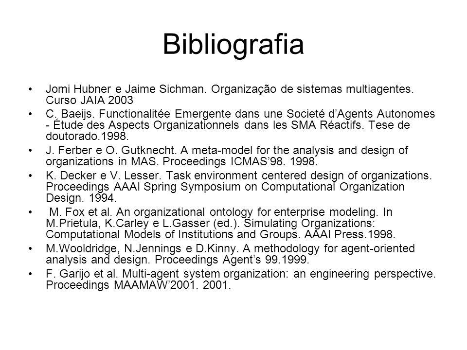 Bibliografia Jomi Hubner e Jaime Sichman. Organização de sistemas multiagentes. Curso JAIA 2003.
