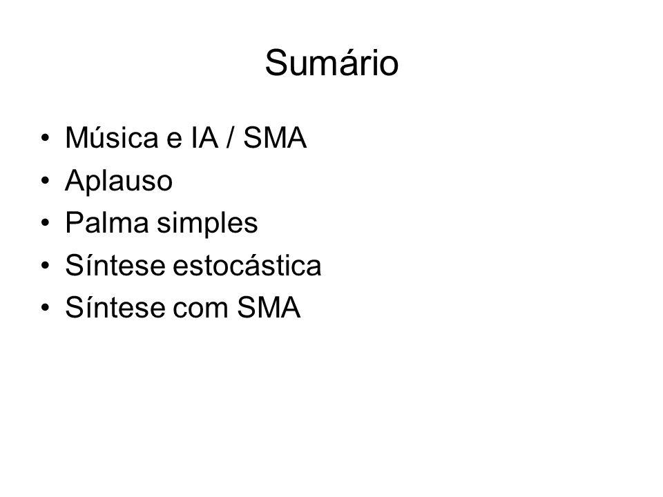 Sumário Música e IA / SMA Aplauso Palma simples Síntese estocástica