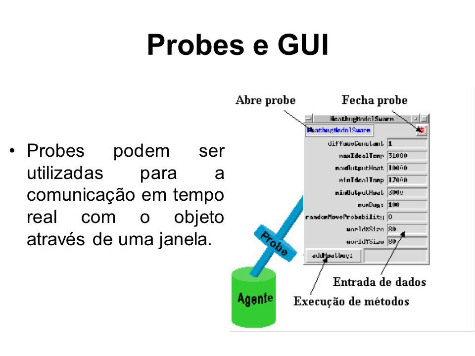 Probes e GUIProbes podem ser utilizadas para a comunicação em tempo real com o objeto através de uma janela.