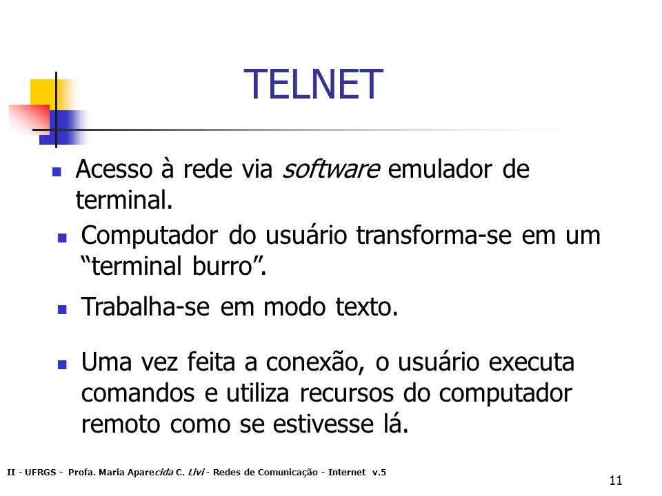 TELNET Acesso à rede via software emulador de terminal.