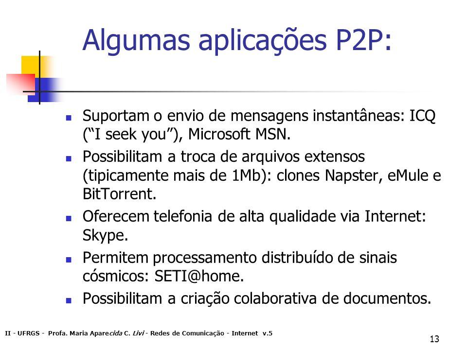 Algumas aplicações P2P: