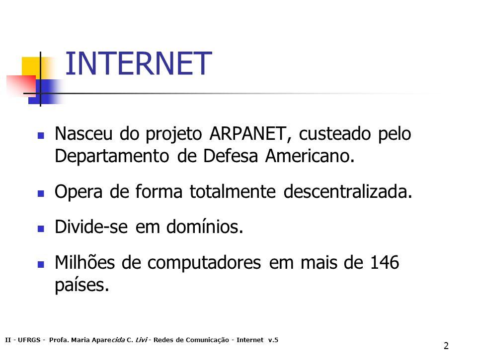 INTERNET Nasceu do projeto ARPANET, custeado pelo Departamento de Defesa Americano. Opera de forma totalmente descentralizada.