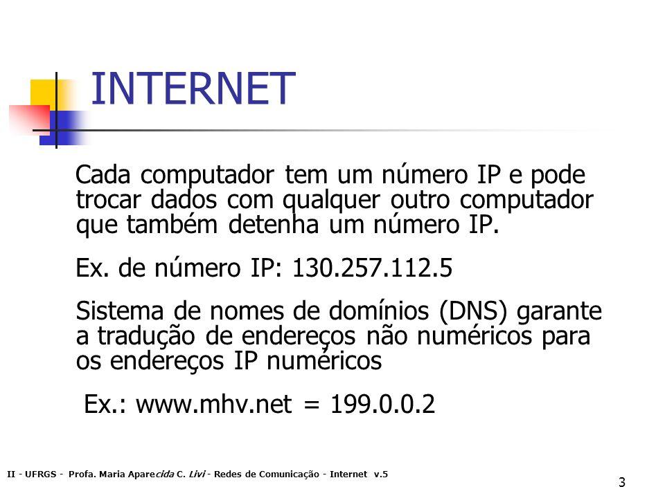 INTERNET Cada computador tem um número IP e pode trocar dados com qualquer outro computador que também detenha um número IP.