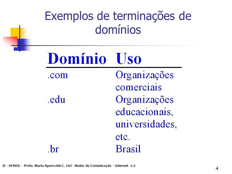 Exemplos de terminações de domínios