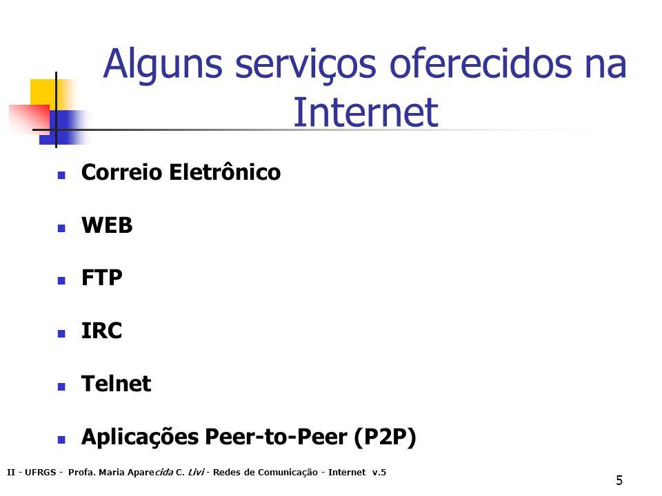 Alguns serviços oferecidos na Internet