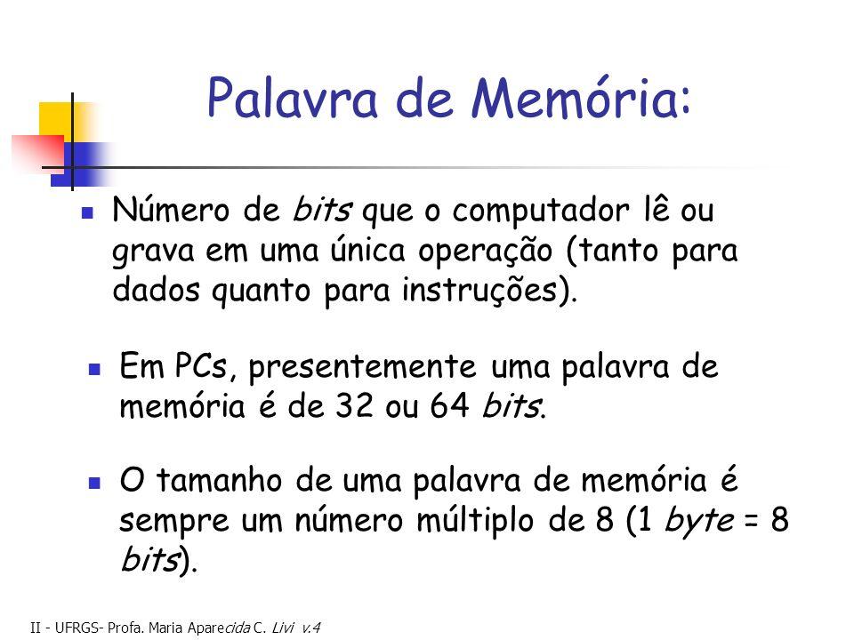 Palavra de Memória: Número de bits que o computador lê ou grava em uma única operação (tanto para dados quanto para instruções).