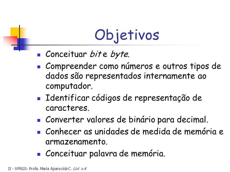Objetivos Conceituar bit e byte.