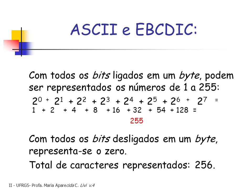 ASCII e EBCDIC: Com todos os bits ligados em um byte, podem ser representados os números de 1 a 255: