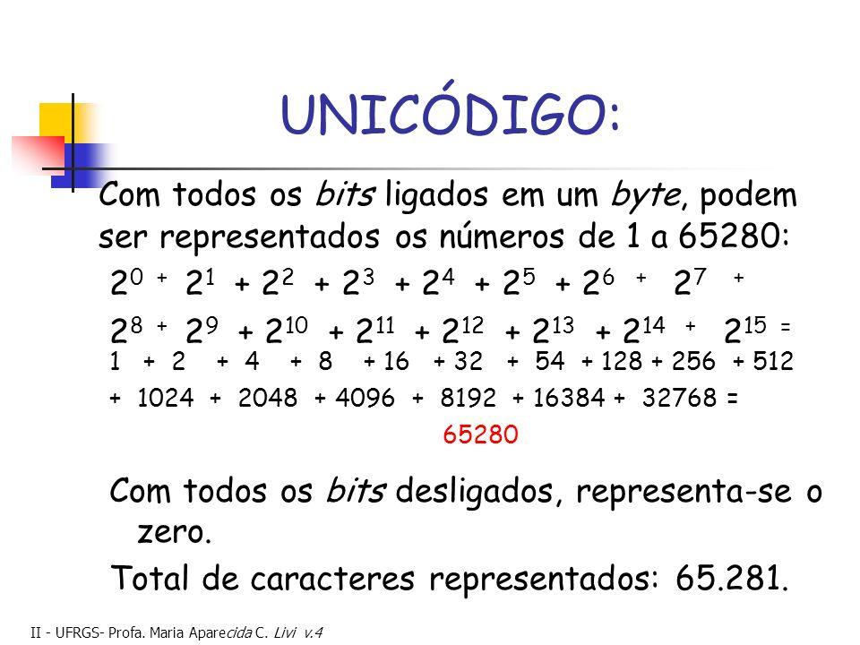 UNICÓDIGO: Com todos os bits ligados em um byte, podem ser representados os números de 1 a 65280: