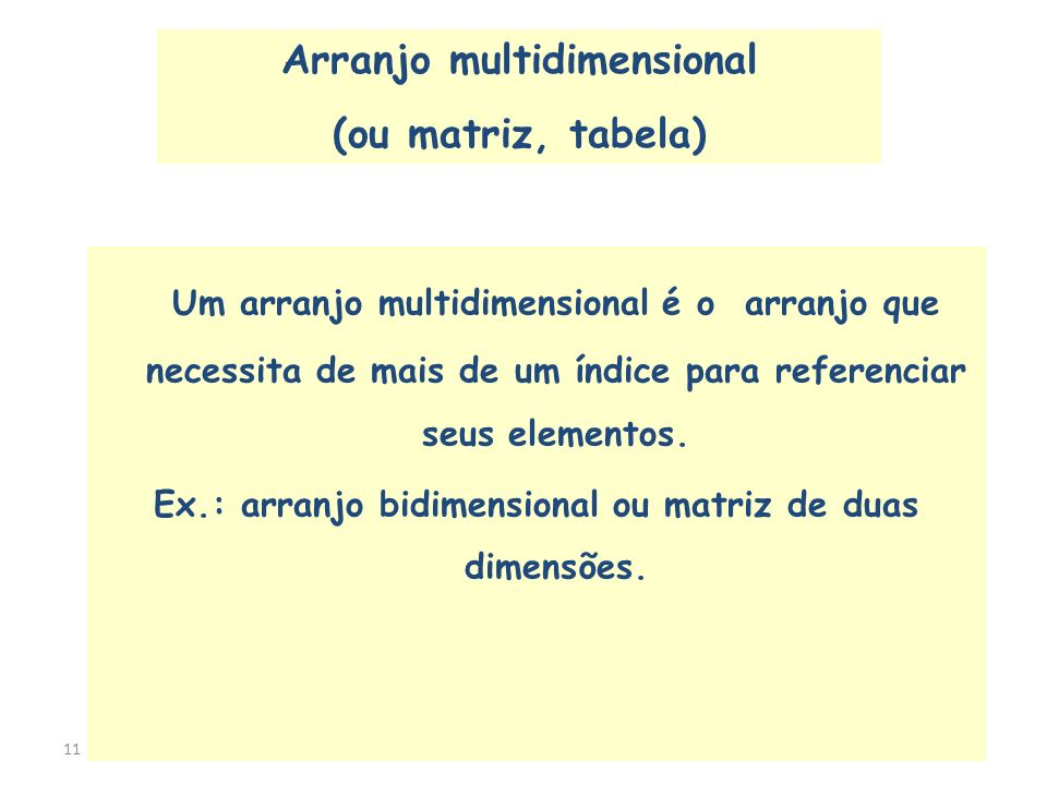 Arranjo multidimensional