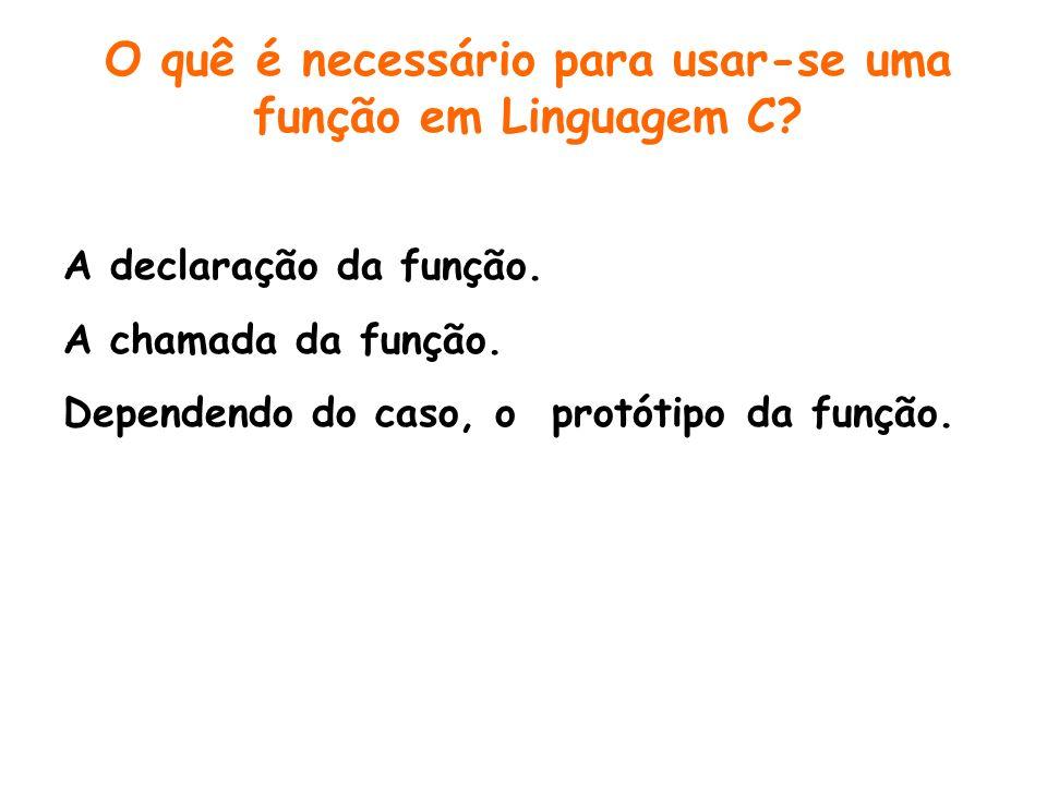 O quê é necessário para usar-se uma função em Linguagem C
