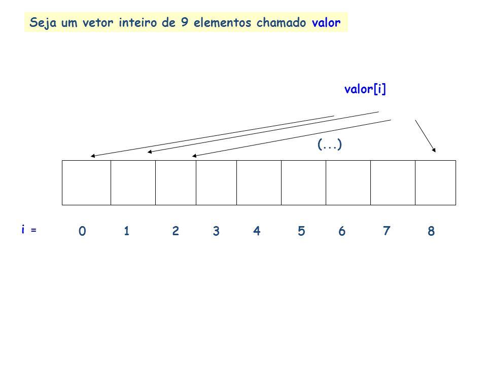 Seja um vetor inteiro de 9 elementos chamado valor