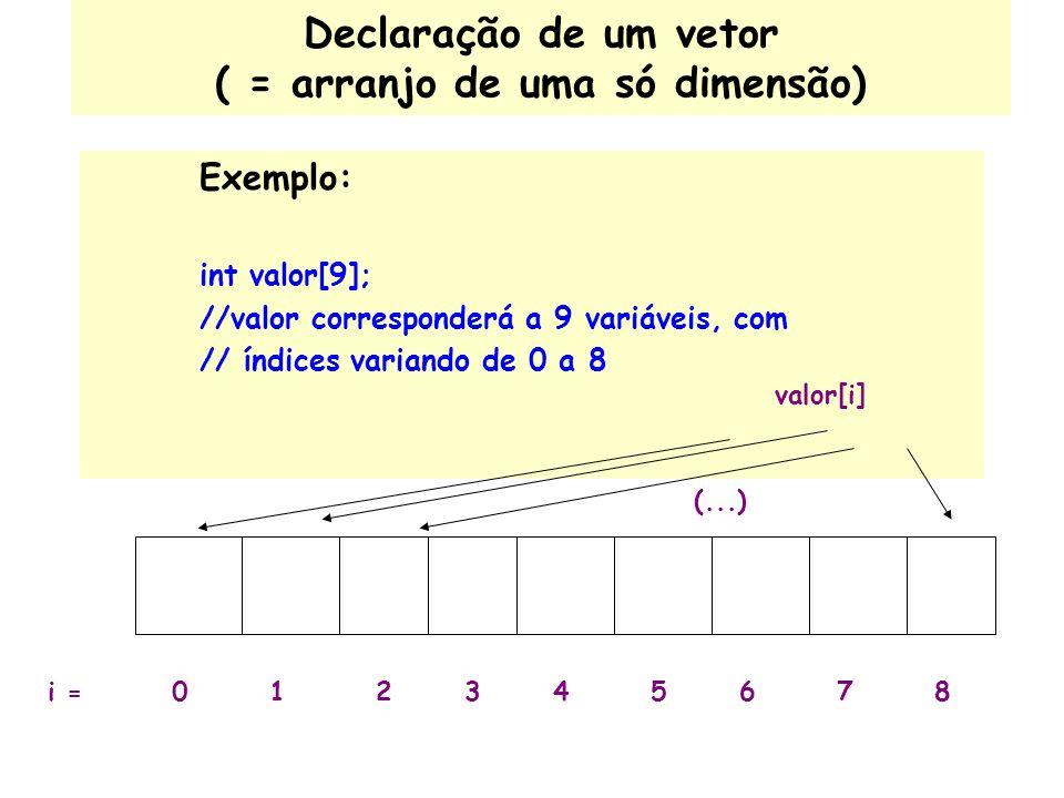 Declaração de um vetor ( = arranjo de uma só dimensão)