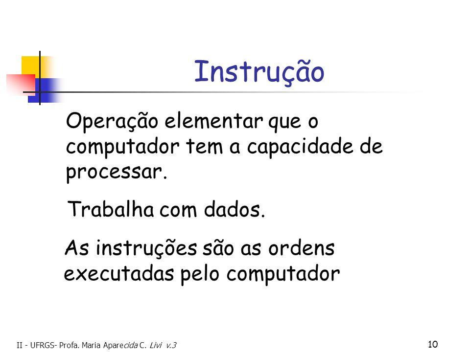Instrução Operação elementar que o computador tem a capacidade de processar. Trabalha com dados.