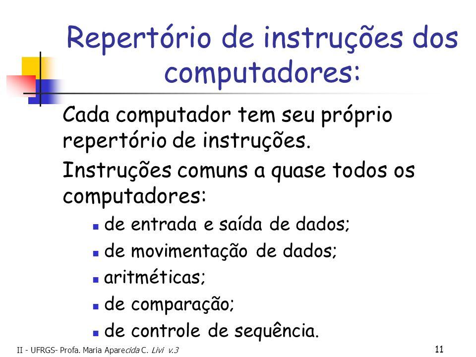 Repertório de instruções dos computadores: