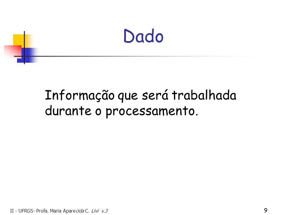 Dado Informação que será trabalhada durante o processamento. 9 9