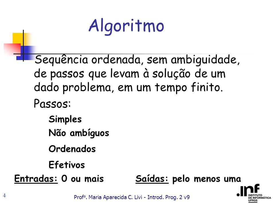 Algoritmo Sequência ordenada, sem ambiguidade, de passos que levam à solução de um dado problema, em um tempo finito.