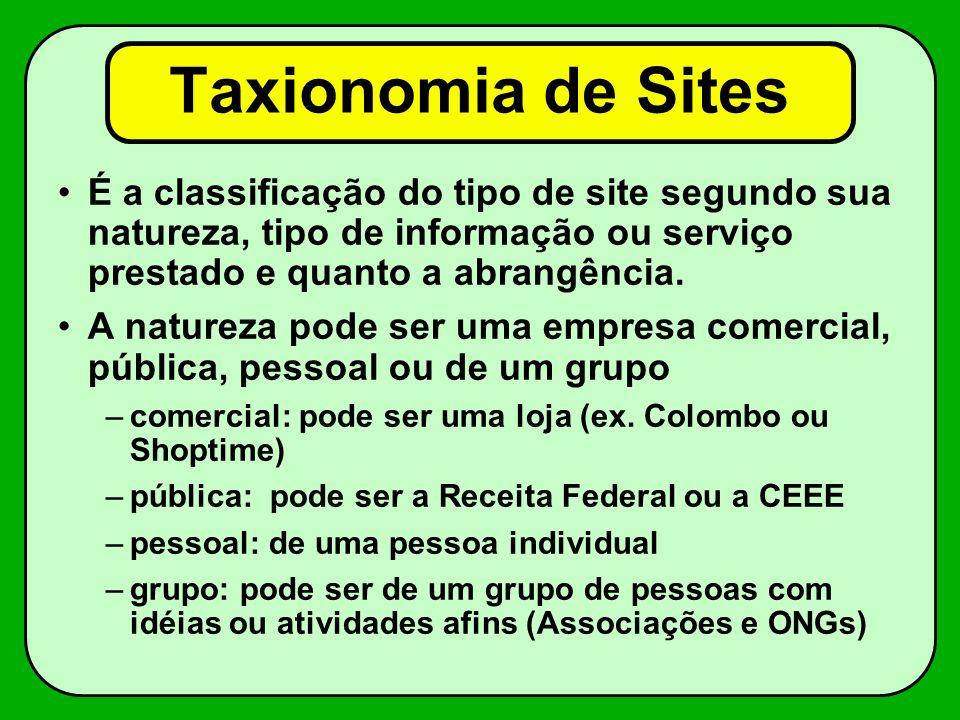 Taxionomia de Sites É a classificação do tipo de site segundo sua natureza, tipo de informação ou serviço prestado e quanto a abrangência.