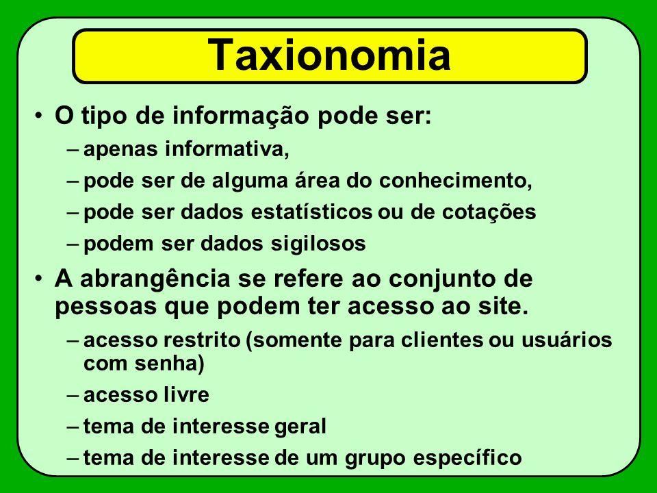 Taxionomia O tipo de informação pode ser: