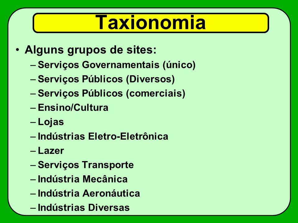Taxionomia Alguns grupos de sites: Serviços Governamentais (único)