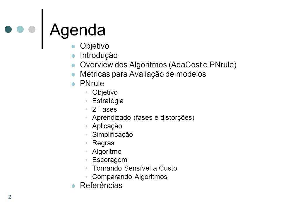 Agenda Objetivo Introdução Overview dos Algoritmos (AdaCost e PNrule)